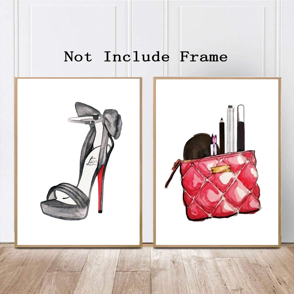 a36a8d958706 Fashion Typography Art Print Painting, Watercolor Cosmetic Shoes Cosmetic  Bag Cardstock Art Poster Fashion Women Prints,Make Up Wall Art Decor (Set  of ...