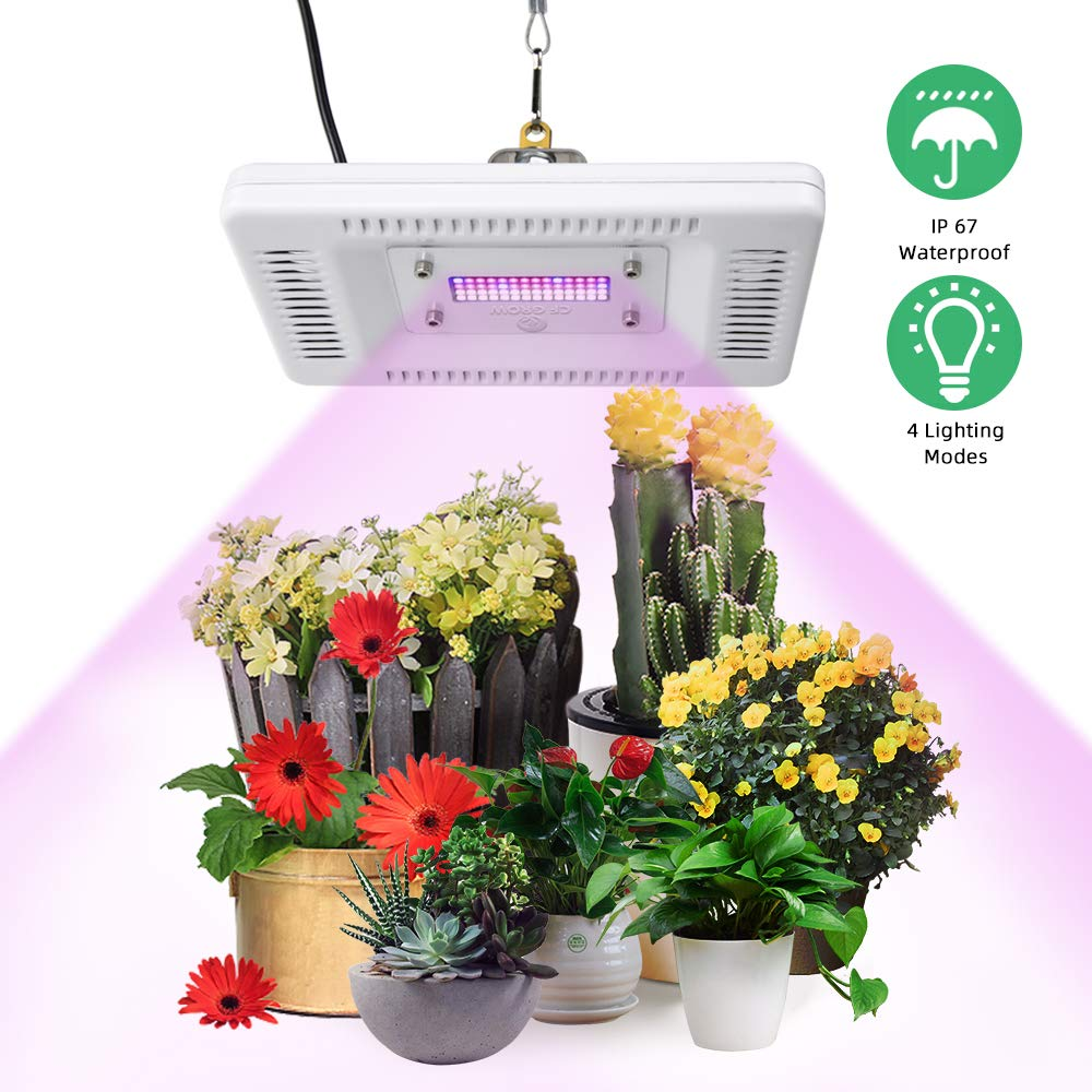 LED Grow Lights for Indoor Plants, CFGROW 50W Sunlike Full Spectrum Plant Light ,Waterproof Growing Lamp,4 Lighting Modes,180 Adjustable U-Bracket,Professional for Seedling Growing Blooming Fruiting