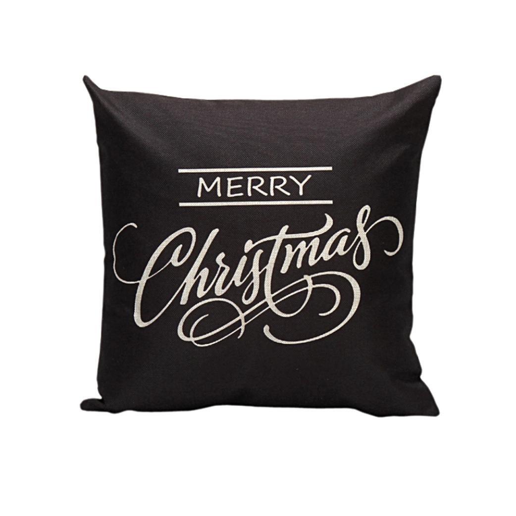allywitヴィンテージクリスマス文字ソファベッドホーム装飾フェスティバル枕カバークッションカバー ブラック B01MYRTNH4 ブラック ブラック
