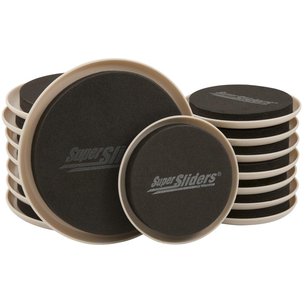 SuperSliders 4714295N Reusable Furniture Moving Sliders Kit for Carpet Medium & Large, 5'' and 3-1/2'' Bonus Pack (16 Pieces)