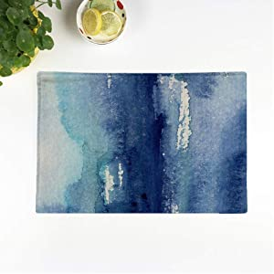 rouihot Set of 4 Placemats Blue Hand Made Shabby Abstract Watercolor Artistic Wash Navy Non-Slip Doily Place Mat for Dining Kitchen Table