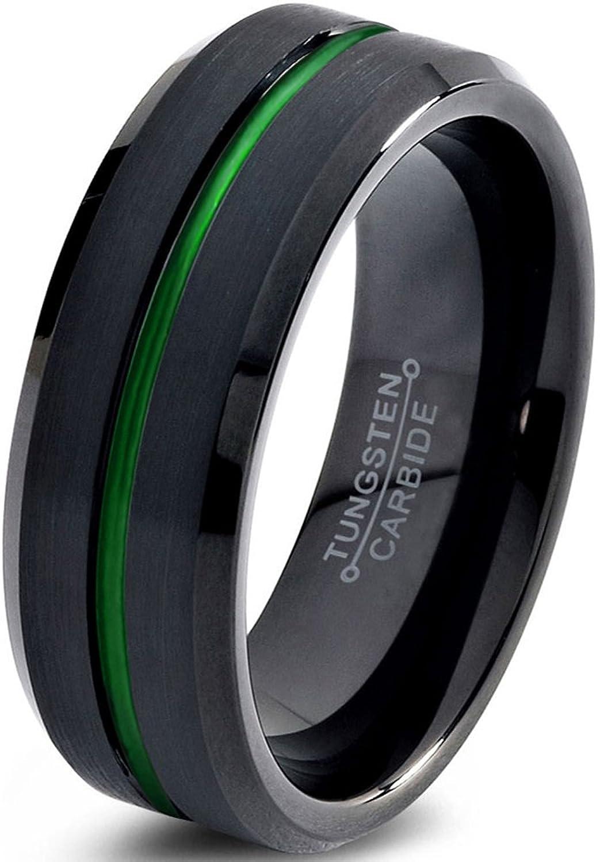 Tungsten Wedding Band Ring 6mm for Men Women Green Black Beveled Edge Brushed Polished Center Line