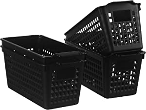 YXB Plastic Storage Basket - 4 Packs Small Plastic Storage Baskets Bins Slim Pencil Organizer Plastic Baskets Organizer Black for Office Home Kitchen Bathroom