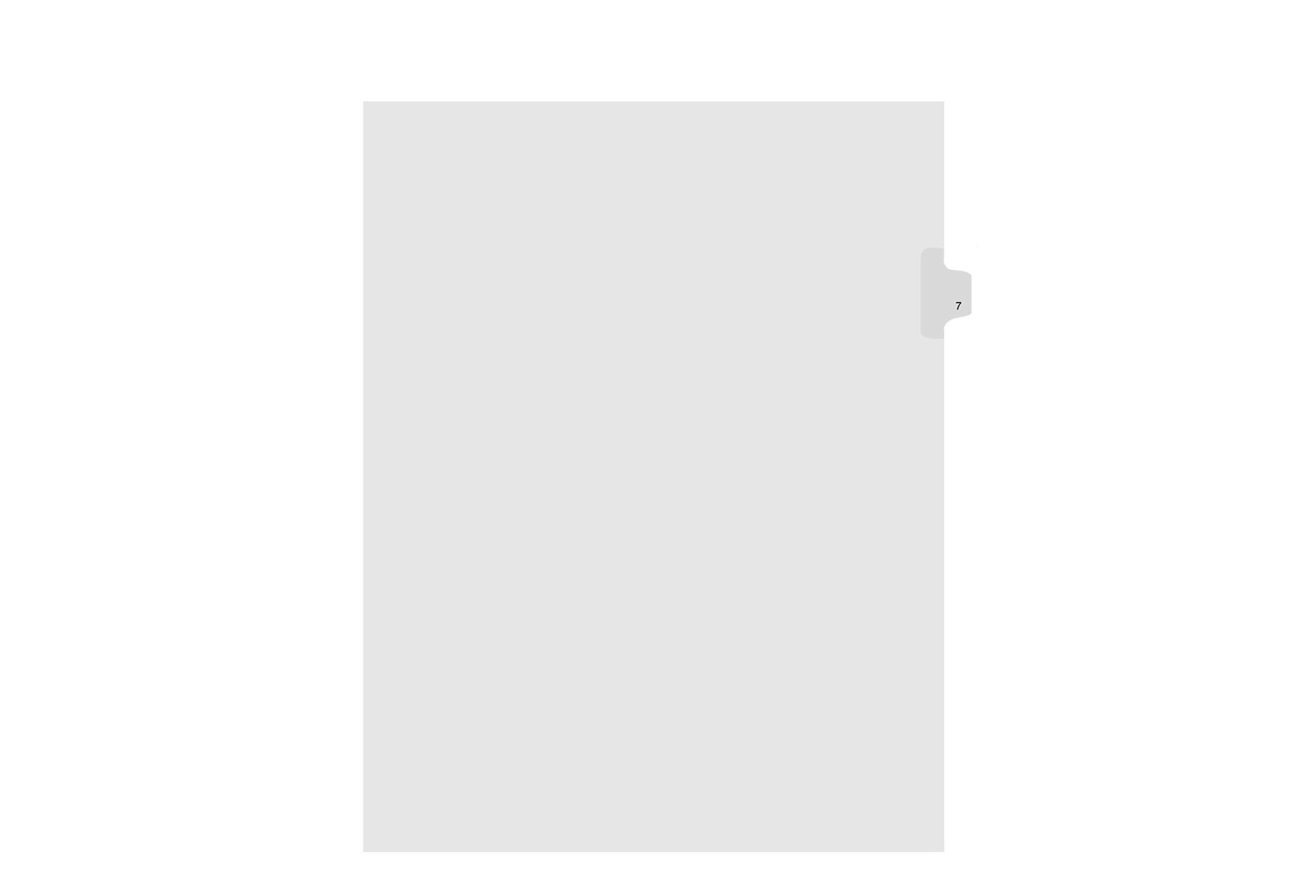 Kleer-Fax Letter Size Individually Numbered 1/25th Cut Side Tab Index Dividers, 25 Sheets per Pack, White, Number 7 (91007)