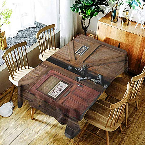 XXANS Small Rectangular Tablecloth,Zombie,Monsters Behind Wooden Door Demon Halloween Holiday Fear Fantasy Picture,Fashions Rectangular,W52x70L Umber Chestnut Brown ()