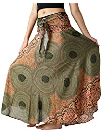 Women's Long Hippie Bohemian Skirt Gypsy Dress Boho Clothes Flowers One Size Fits Asymmetric Hem Design