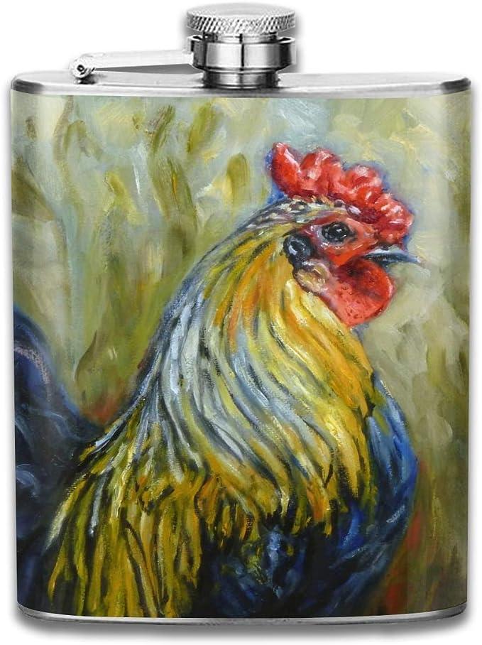 Petaca para licor brillante gallo de acero inoxidable ...