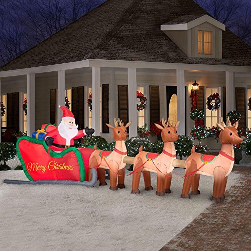 Home Accents Holiday Christmas Decorations 16 Ft W Inflatable Santa In Sleigh With Reindeers By