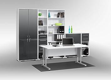 Büromöbel weiß grau  Arbeitszimmer komplett Set MAJA SYSTEM 1200 Büromöbel in Icy weiß ...