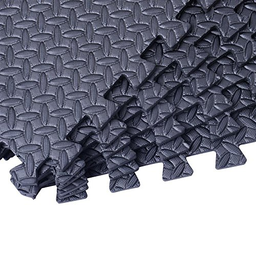 Interlocking Exercise Protective Tile Flooring 72 Sq Ft Gym Floor Mat With Ebook by MRT SUPPLY