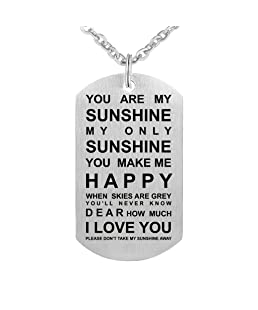 CraDiabh You are My Sunshine Dog Tag Stainless Steel Pendant Necklace You Make Me Happy Necklace