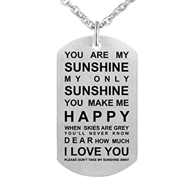you are my sunshine dog tag stainless steel pendant necklace you