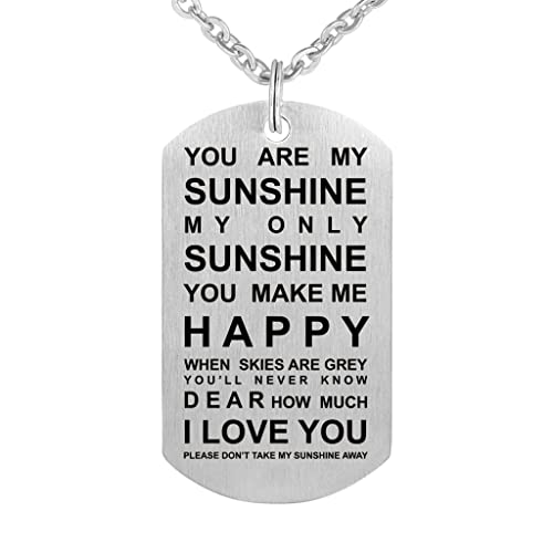 Amazon.com: You Are My Sunshine Collar Etiqueta Colgante De ...