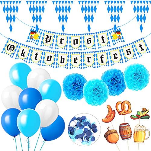 Koogel Oktoberfest Deko Set, 31 Stück Bayrische Deko Set mit Girlande 3M Wimpelkette Banner Luftballon Seidenpapier Pompoms Streukonfetti in Blau Weiß für Oktoberfest Deko Party