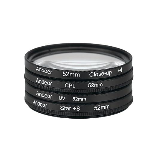 53 opinioni per Andoer® 52mm UV+CPL+Close-Up+4 +Star 8-Point Filtro Circolare Kit filtro