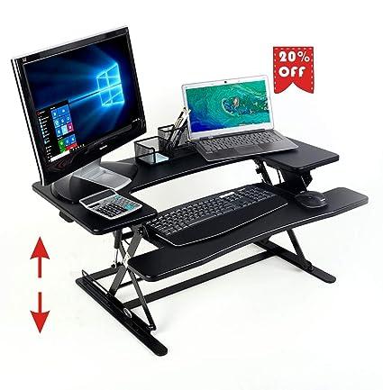 Convertidor de escritorio de pie, premontado 90cm altura ajustable ...