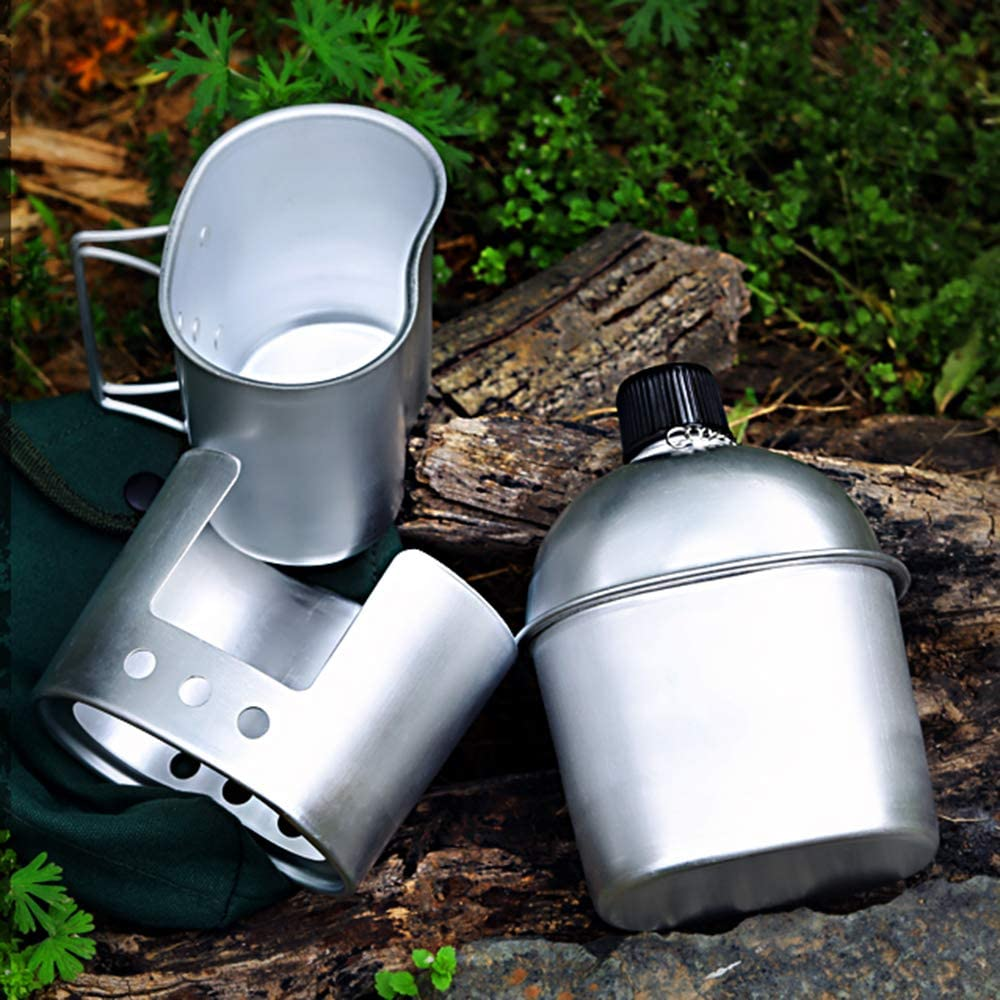Aluminum Lixada Military Canteen Kit,3Pcs Aluminum Canteen Cup Wood Stove Set with Cover Bag for Camping Hiking Backpacking