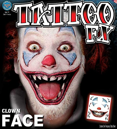 Clown Costumes For Adults Professional - Tinsley Transfers Clown Face Tattoo Adult Accessory