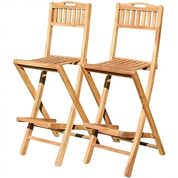 Attraktiv ASS 2Stück Teak Design Barhocker Bistrohocker Bistrosessel Barsessel Sessel  Holzsessel Gartensessel Gartenmöbel Holz Modell: JAV