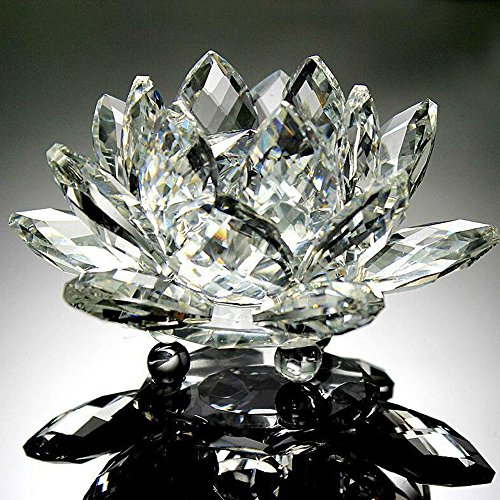 Hot Sale!DEESEE(TM)Lotus Crystal Glass Figure Paperweight Ornament Feng Shui Decor Collection (A) ()