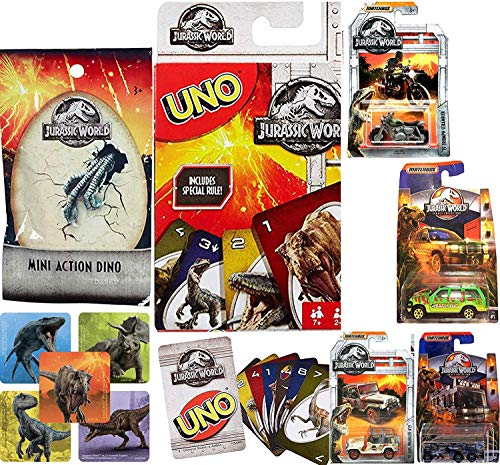 Blast World Jurassic Uno Game Matchbox Collection Car Set Legacy Motorcycle / Trucks / Haulers / Off Road Park Explorers with Mini Blind Bag Figure Sticker Adventure Go Card Game Bundle 7 Items