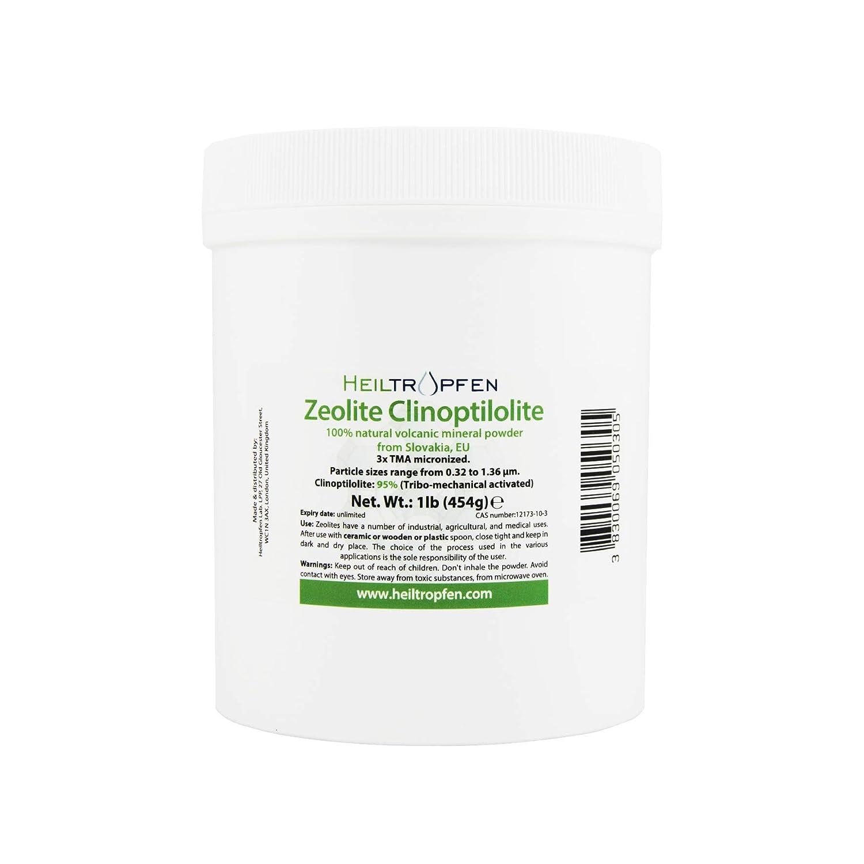 Zeolite Powder 1 Pound | Ultra FINE Less-Than 2 µm | Clinoptilolite 95% | 3X Activated | Natural Mineral Dust | Heiltropfen®