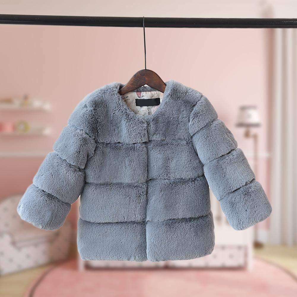 chaqueta c/álida para ni/ños Abrigos de piel sint/ética para beb/és y ni/ñas oto/ño e invierno rosa rosa Talla:110 cm