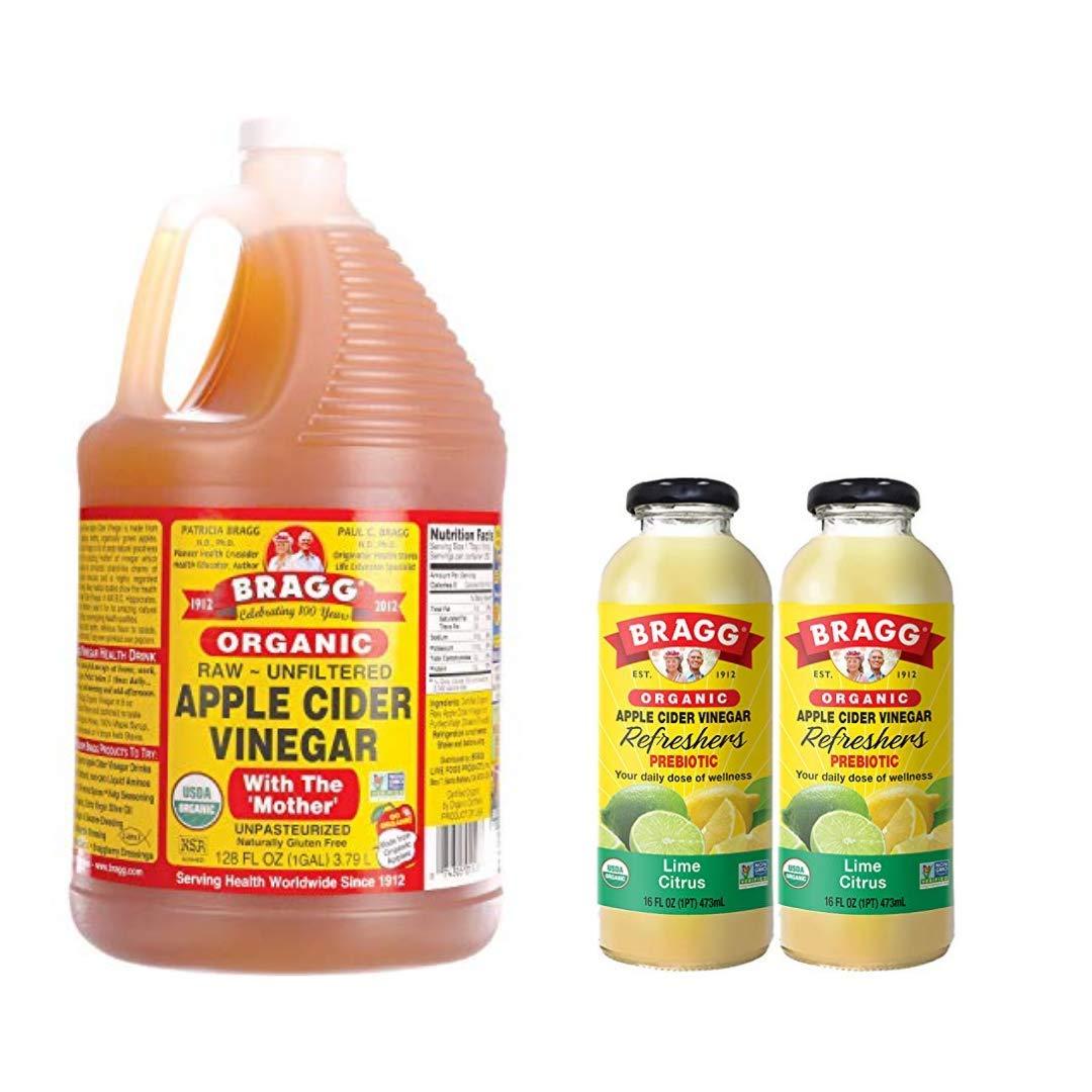 Bragg Organic Apple Cider Vinegar With the Mother 128 ounce and Bragg Organic Lime Citrus Vinegar Drink 16 Oz Pack of 2 Bundle