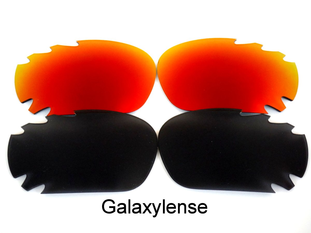 Galaxy Replacement Lenses for Oakley Racing Jacket Black&Red Color Polarized 2 Pairs,FREE S&H.