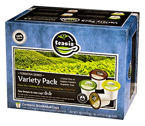 (Teasia Formosa Tea Pod Variety Pack, 4 Flavors: Oolong, Roasted Oolong, Green, Black Teas Sampler (36 single serving cups) All Natural Capsules Compatible with Keurig K Cup Brewers)