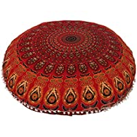32 Cotton Round Floor Pillow Cover Red Indian Mandala Pillow Cover Cushion Cover Ottoman Pouf Cover