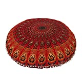 Shubhlaxmifashion 32'' RED Mandala Floor Pillow Cushion Seating Throw Cover Hippie Decorative Bohemian Ottoman Poufs, Pom Pom Pillow Cases,Boho Indian