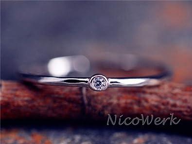 Silberring Schlicht Schmal Vintage Geschwärzt Punkt Ring Silber 925 Verstellbar