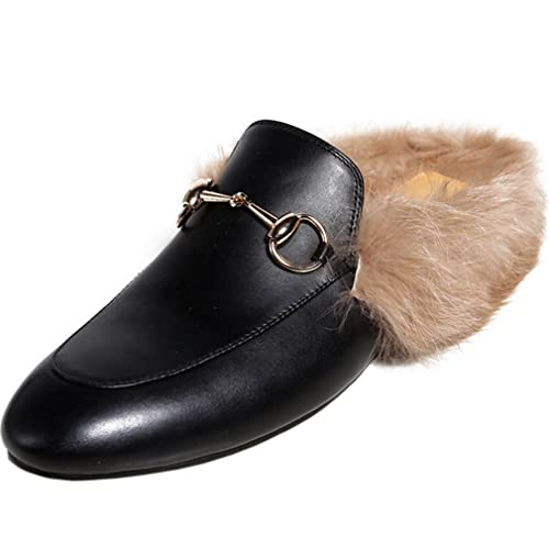 31a696d052c ENMARER Womens Loafers Shoes with Soft Fur Retro Slippers Flats Round Toe  Black 4.5 B(