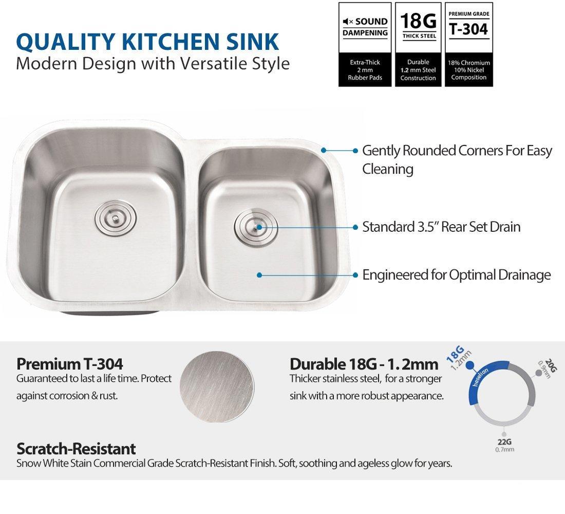 VESLA HOME 32 inch Undermount 60//40 Double Bowl 18 gauge Stainless Steel Kitchen Sink