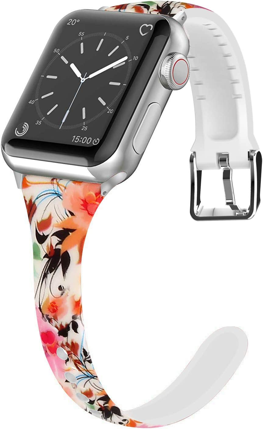 Lwsengme Compatible for Apple Watch Band 38MM 40MM 42MM 44MM, Silicone Slim Women iWatch Bands Wristband Compatible for Apple Watch Series 4 3 2 1 (Flower, 38MM/40MM)