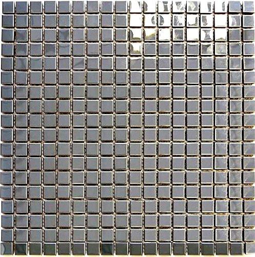 Mosaic Tile Metal Silver Steel Shiny Steel | 1 Sheet Mosaik-Netzwerk