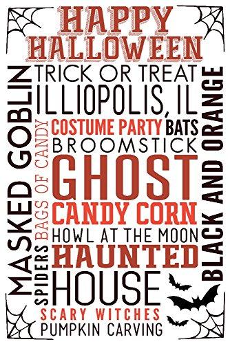 Illiopolis, IL - Happy Halloween - Typography with Bats (9x12 Art Print, Wall Decor Travel Poster) -