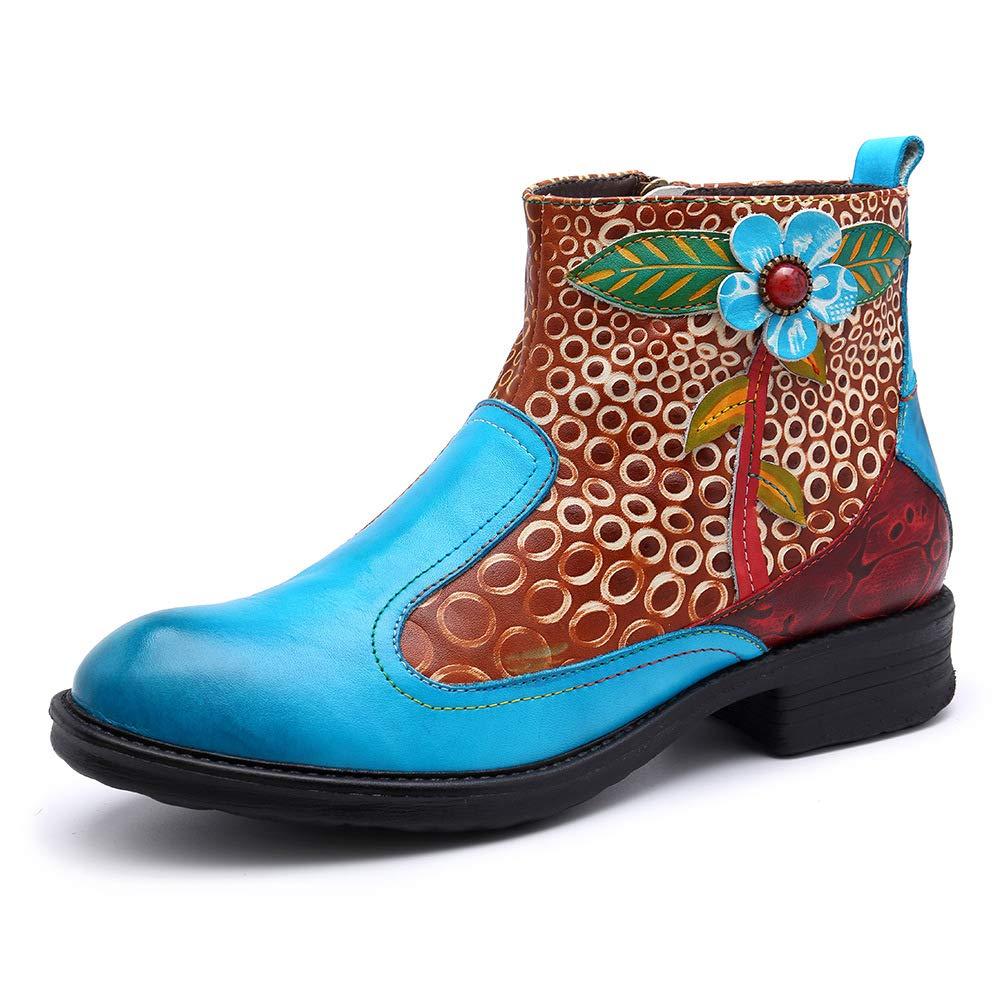 Imzoeyff Blaue Stiefeletten für Damen, Casual Leder Zip Oxford Stiefel Klassische Böhmische Muster Stiefel