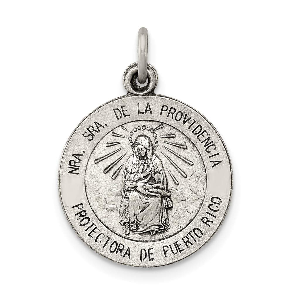 Jewel Tie 925 Sterling Silver Antiqued-Style De La Providencia Medal 15mm x 22mm