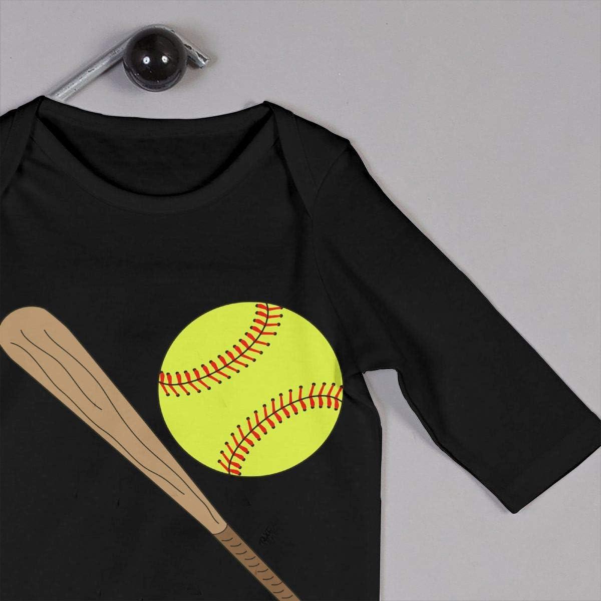 YELTY6F Softball Baseball Bat Batting Printed Newborn Infant Baby Boy Girl Jumpsuit Long Sleeve Rompers Black