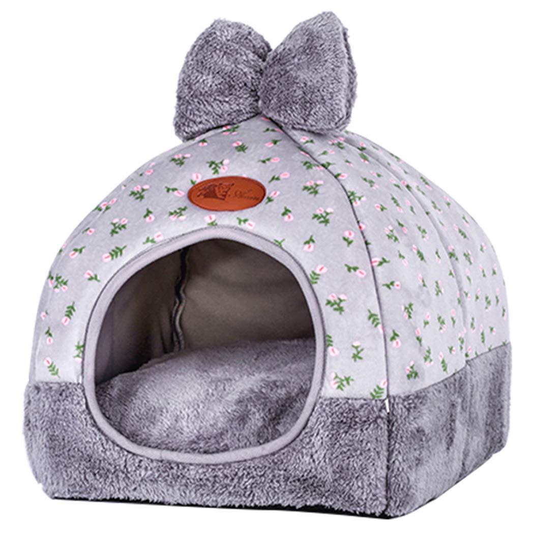 Legendog Haustier Höhle Schön Bowknot Dekor Warm Haustier Nest Haustier Haus für Welpen Katzen