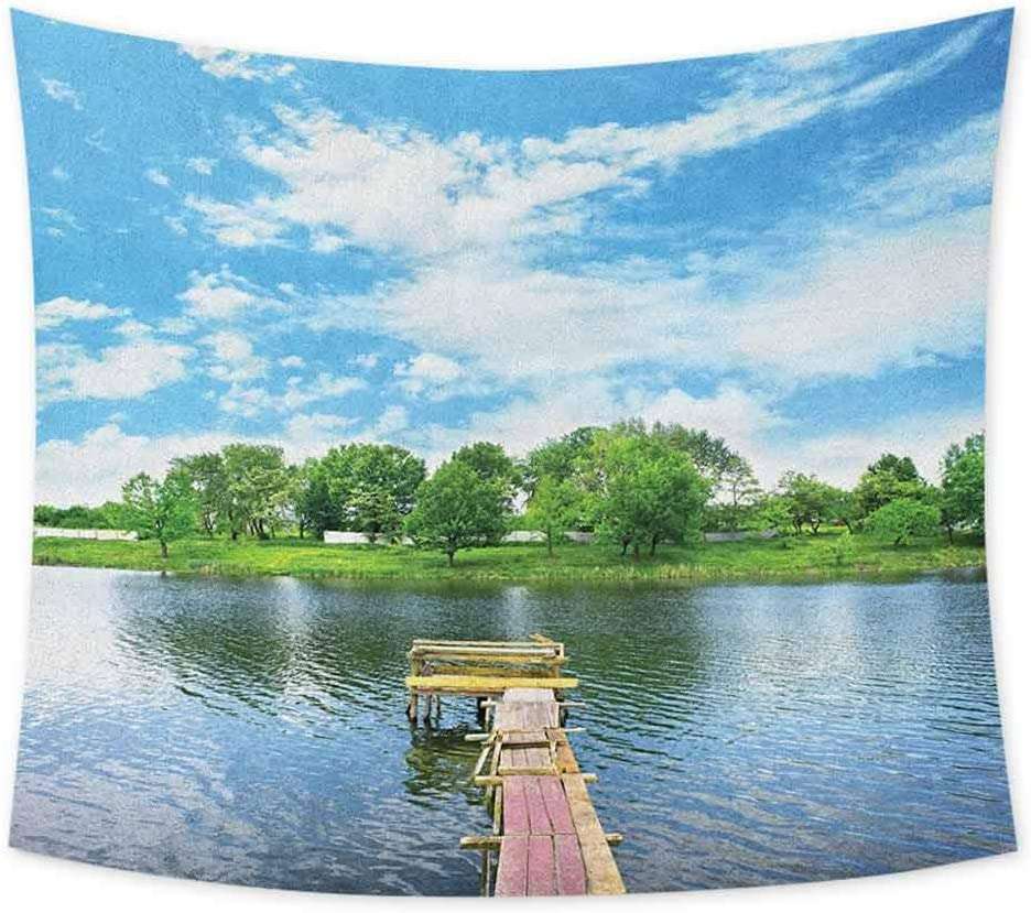 jecycleus Landscape Boho Tapestry Wall Hanging Photo Taken from a Wooden Dock Towards The Sea and Forest Sky Calm Lake Print Colorful Tapestry Hippie Decor W80 x L60 Inch Multicolor