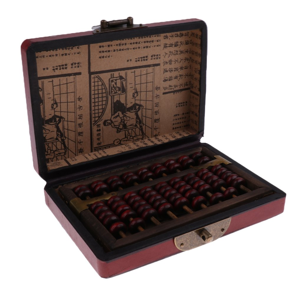 Sharplace Vintage Chinese Wooden Bead Arithmetic Abacus with Box Classic Ancient Calculator Gift for Children Adult