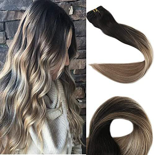 Full Shine 22 inch Remy Clip in Hair Extensions Human Hair Full Head Ombre Clip in Hair Extension 10 Pcs Per Set 120gram Color #1B Fading to #8 and #22