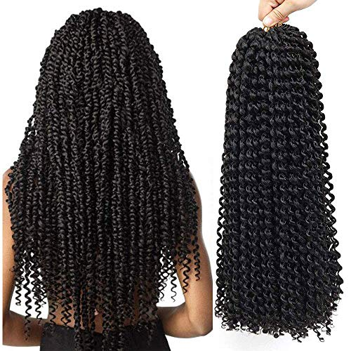Passion Twist Crochet Hair Curly Water Wave Crochet Braids Hairstyles 6Packs 18inch Long Bohemian Synthetic Hair Extensions (3pack, 1B)