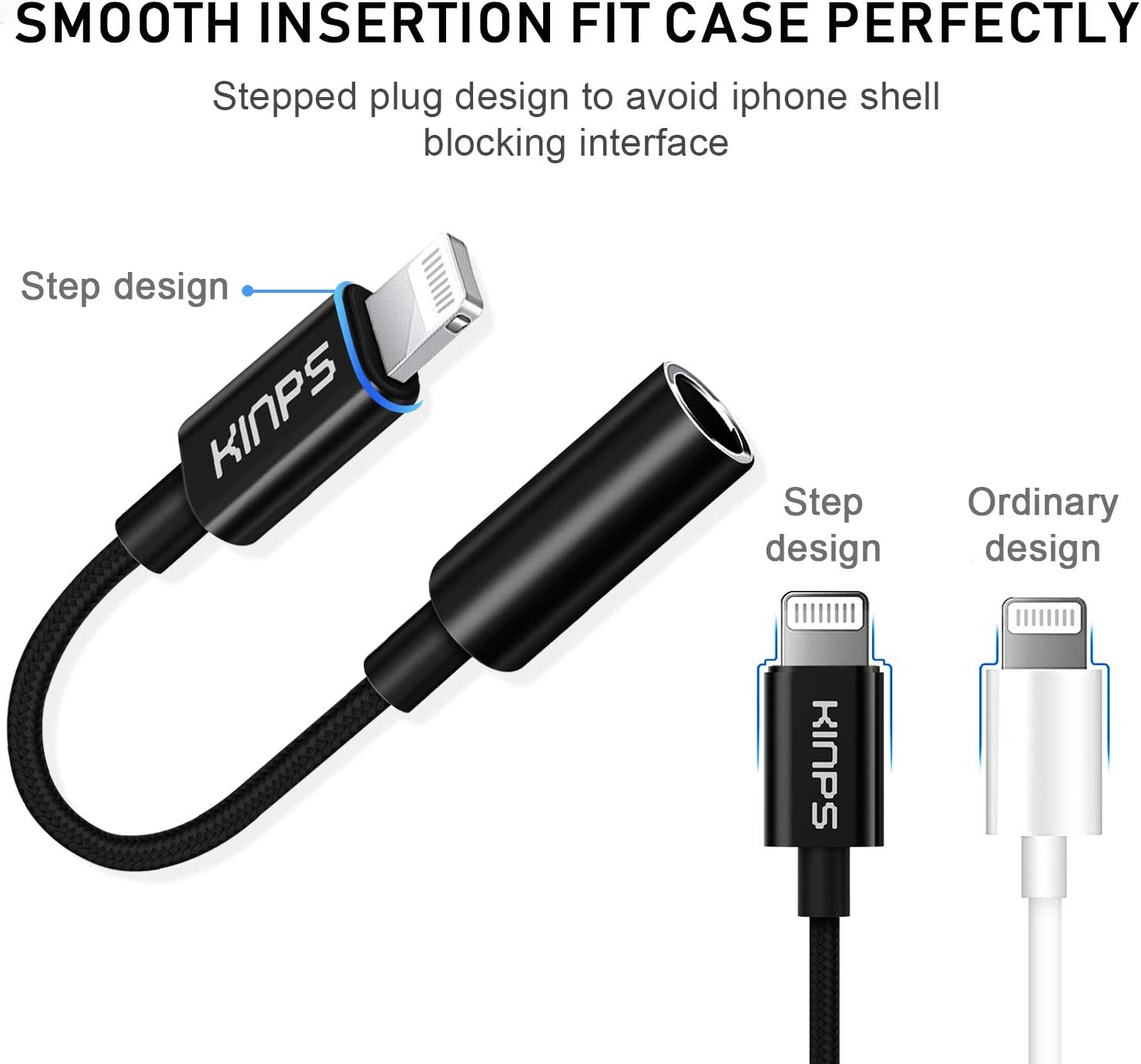 KINPS Apple MFI Certified Lightning to 3.5 mm Headphone Jack Adapter Compatible with iPhone 11 Pro Max//11 Pro//11//XS Max//XS//XR//X//8 Plus//8//7 Plus//7 Jet Black