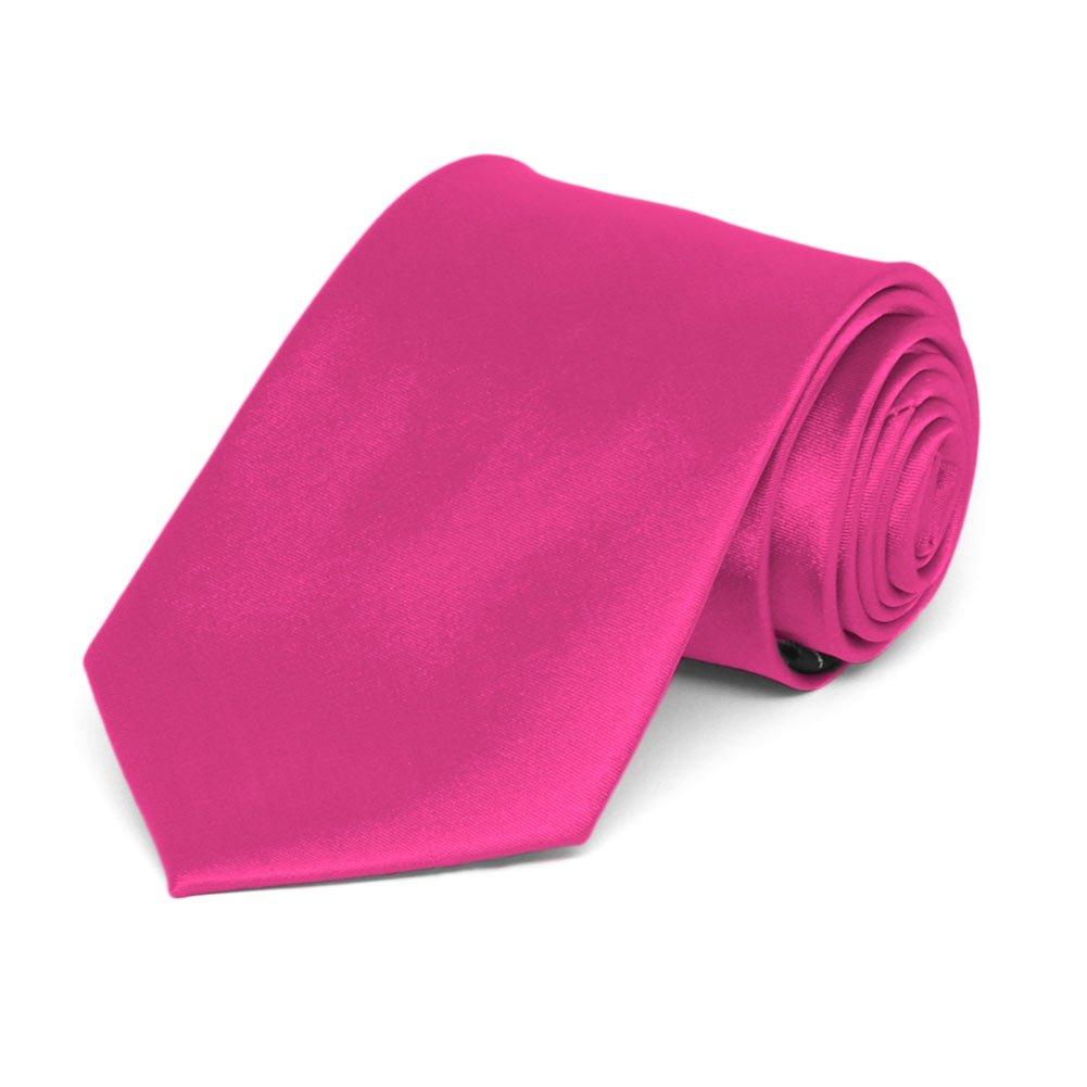TieMart Boys Bright Fuchsia Solid Color Necktie