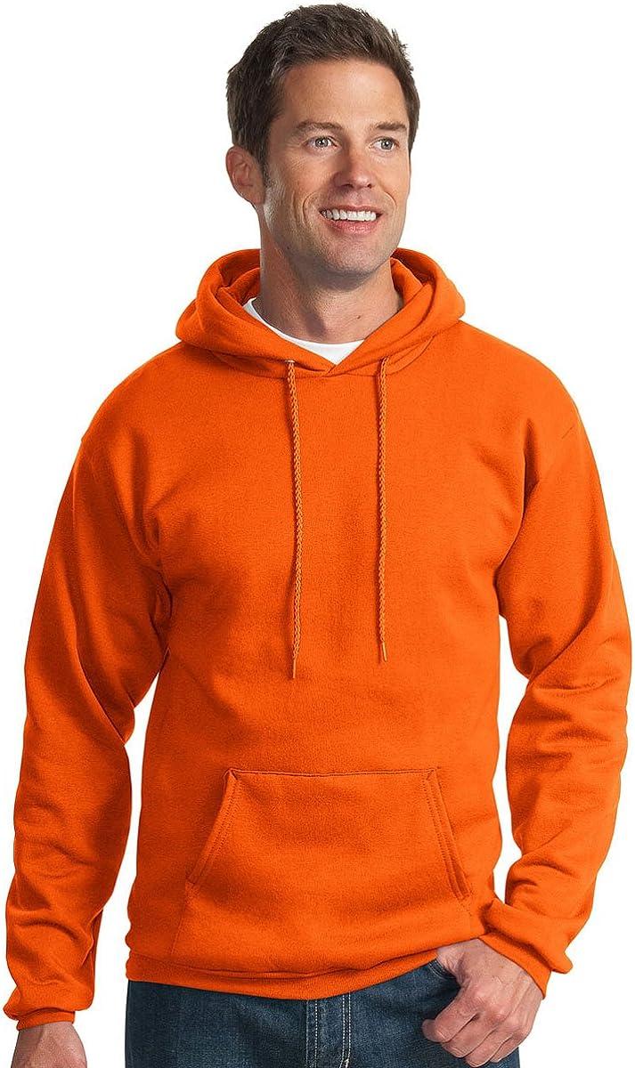 Small Port /& Company Mens Pullover Pocket Hooded Sweatshirt Orange