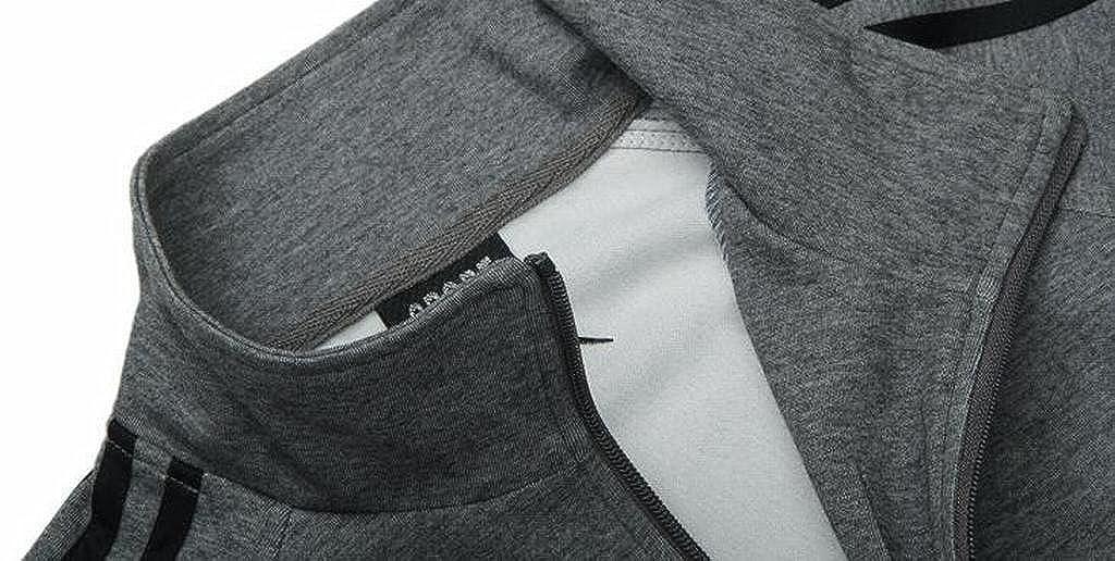 MMCP Mens 2 Piece Outfits Plus Size Sweatshirt Jacket Pants Sweatsuits Tracksuits Set
